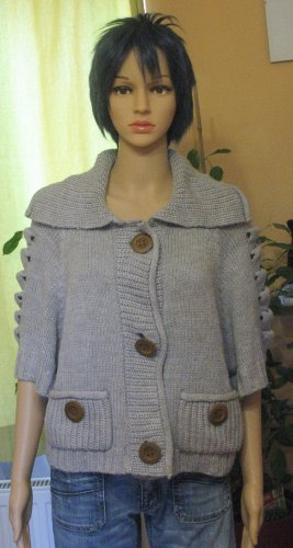 CPM the Collection! Short Sleeve Knitted Jacket grey polyacrylic