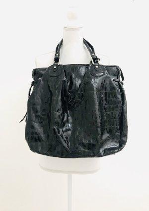Wunderschöne Tasche (gross) von Marc Cain, Krokomuster, schwarz, Leder