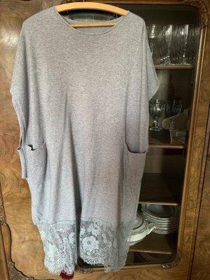 Długi sweter bez rękawów jasnoszary