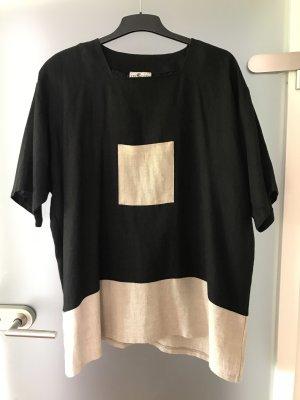 inSein Camicia a tunica nero-beige chiaro Lino