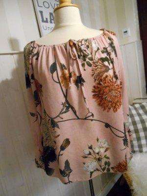 wunderschöne Tunika Bluse Rosa mit tollem Blumendruck NEU