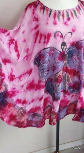 Wunderschöne Tunika Kaftan Bluse Schmetterling bestickt (NEU) Viskose Maße Länge 75 cm AA 110 cm