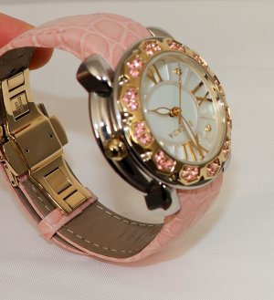 Escada Reloj con pulsera de cuero marrón arena-rosa claro Cuero
