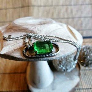 Zilveren ketting zilver-groen