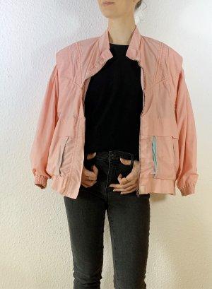 Wunderschoene vintage Jacke/ Blouson/ leichte Bomberjacke/ Collegejacke in rosa mit Streifen in türkis