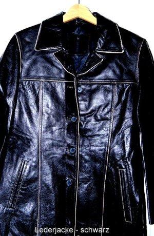 American Vintage Skórzana kurtka czarny Skóra