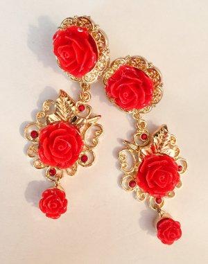 """Wunderschöne Vintage Luxus Statement Ohrringe """"Petite Roses"""" Festival Eyecatcher!! Neu"""