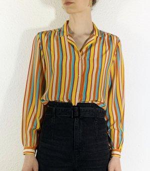 Wunderschöne Vintagebluse/ Vintagehemd aus Seide mit bunten Streifen