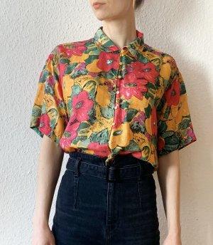 Wunderschöne Vintagebluse/ Vintagehemd unisex aus Seide mit Blumenmuster