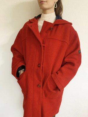Wunderschöne, Vintagemantel/ Dufflecoat aus Wolle Mix  mit Kapuze in rot