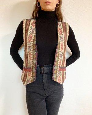 Vintage Cardigan lungo smanicato multicolore