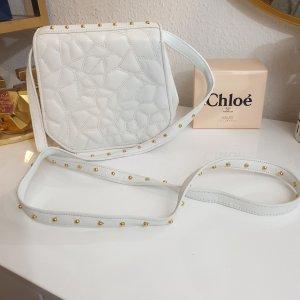 Wunderschöne, weiße Leder Crossbody Tasche Umhängetasche mit goldenen Nieten