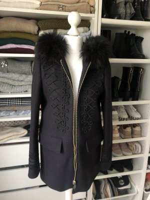 Zara Fake Fur Jacket black-dark blue