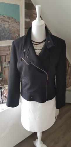 Manoukian Biker Jacket black wool