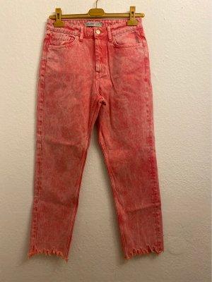 Zara Basic Jeansy typu boyfriend jasnoczerwony-łosowiowy Bawełna