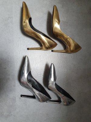 Wunderschöne Zara Pumps in silber und gold