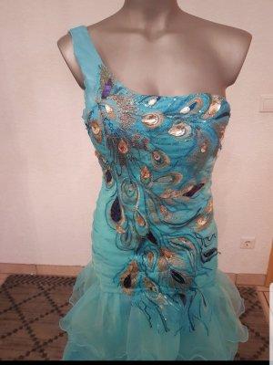 Wunderschönen abendkleider Pfau hellblau Perlen Steine  Größe 34bis 36 nur einmal getragen ganz neue