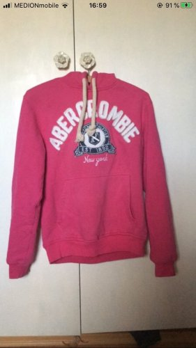 Abercrombie & Fitch Pull à capuche rouge framboise