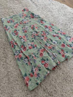 Wunderschöner Blumenrock mit Knöpfen - mintgrün/bunt - Gr. 34/XS