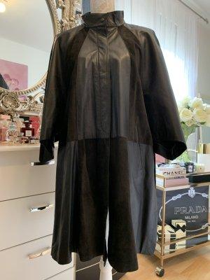Unbekannter designer Manteau en cuir noir cuir