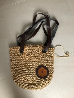 Bolso tipo cesta color bronce-beige claro tejido mezclado