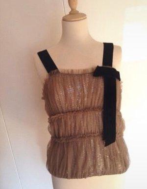 Wunderschöner Gala Party Top Bluse Pailletten Samt Spitze Netz Eleanora Couture