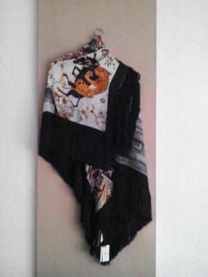 wunderschöner großer Schal mit Fransen aus Lyocell und Seide neu
