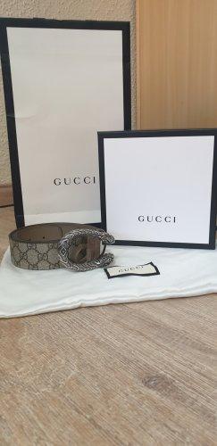 Gucci Ceinture en cuir gris brun-beige