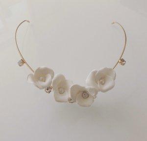Wunderschöner Haarreif Haarschmuck Diadem Hochzeit Brautschmuck weiß Perle Gold Blüten Blume