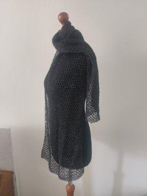 Écharpe en crochet noir-argenté