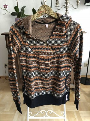Blutsgeschwister Capuchon sweater zwart-donker oranje