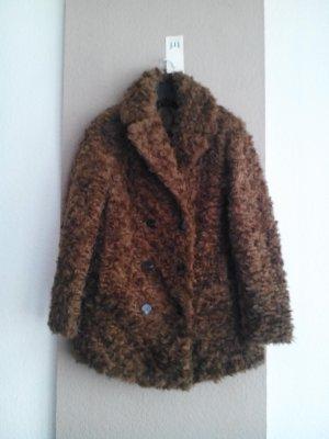 wunderschöner Mantel aus künstlichem Fell in hellbraun, Grösse S, neu