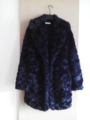 wunderschöner Mantel aus künstlichem Fell in marineblau-dunkelviolet, Grösse S