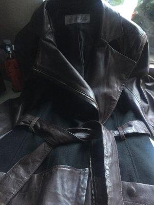 Wunderschöner Mantel aus Leder/Wolle