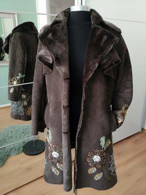 Desigual Manteau en cuir brun cuir