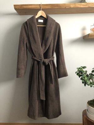 ae elegance Abrigo de lana marrón grisáceo lana de angora