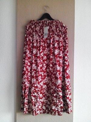 Wunderschöner Midirock mit Blumenprint aus Viskose und Leinen, Größe M, neu