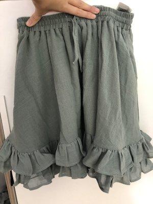H&M Falda de lino verde grisáceo