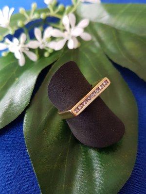 Wunderschöner Pierre Lang Ring, vergoldet mit Swarovskisteinen, Gr. 52
