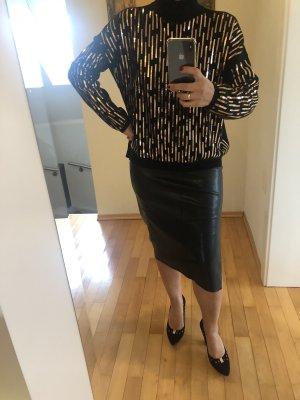 Sweter oversize złoto-czarny