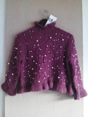 wunderschöner Pullover mit Perlenbesatz, Grösse M, neu