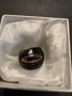 Murano Glas Statement ring zwart-goud