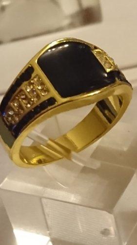 Schmuck Bague incrustée de pierres noir-doré