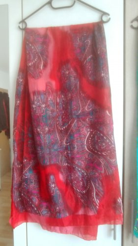 Pashmina rouge-bleu tissu mixte