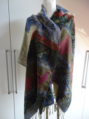 Sjaal met franjes veelkleurig Wol