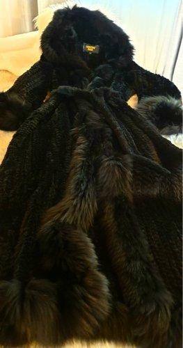 Sentini Manteau de fourrure noir fourrure