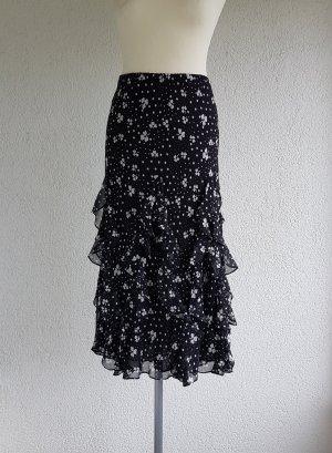 ae elegance Falda de seda blanco-negro Seda