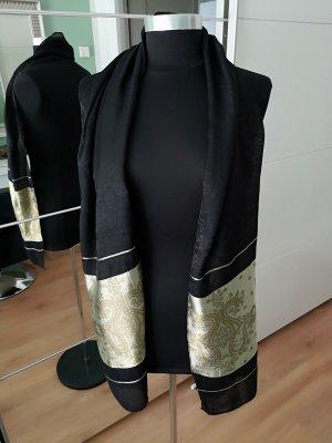 Écharpe en soie noir-brun sable soie