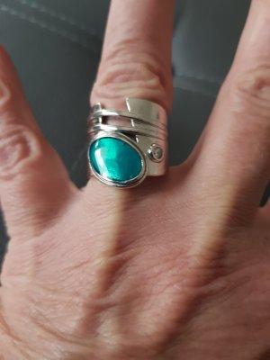 Anello d'argento argento-turchese