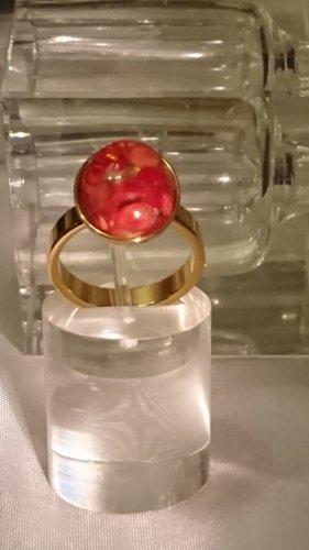 Wunderschöner Steinles Steel Gold Ring Murano Glas Gr.18